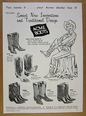 1958 Acme Cowboy Boots 5 Women's Boot Styles illustrated vintage print Ad