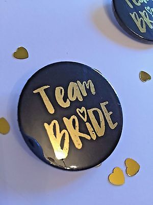 38mm Gold Foiled Hen Party Badge - Team Bride - Bride Tribe - Wedding