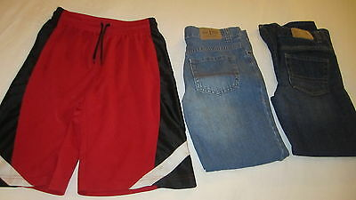 Lot 3 Place Boys Clothes Denim Jeans Pants Elastic Waist Shorts Size 10/12 12