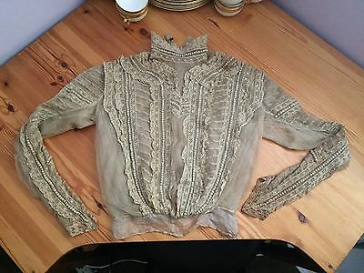 VERY RARE VICTORIAN ECRU COTTON LACE BLOUSE ~ Very Detailed Silk Lined