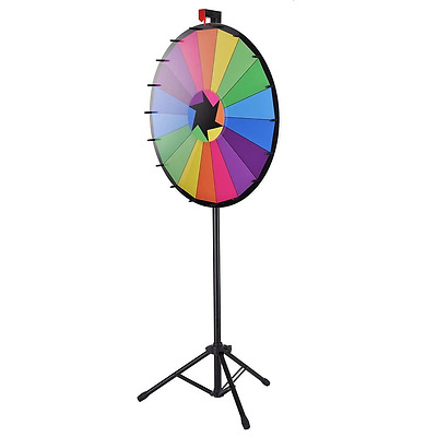 """WinSpin™ 30"""" Editable Color Prize Wheel of Fortune 18 Slot Floor Stand Tr"""