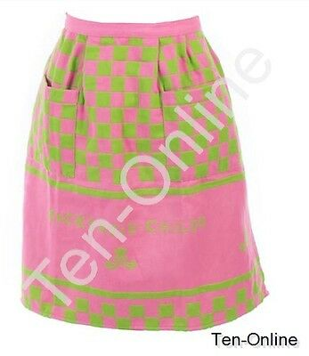 Authentic Mackenzie Childs   Pink & Green Hostess Apron New