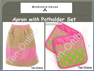 Mackenzie Childs   Pink & Green Hostess Apron /Potholder Set New
