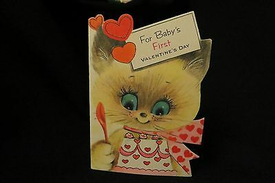 Vintage SIAMESE Kitten Valentine Card Baby's First c. 1950s by: gibson UNSIGNED