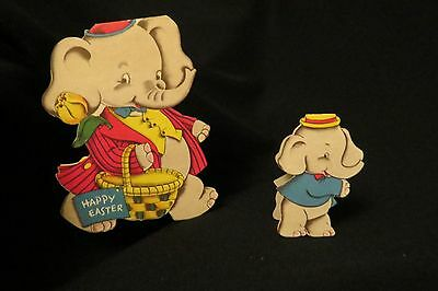 Vintage ELEPHANT Easter Card c. 1940s by: Norcross DOUBLE WISH