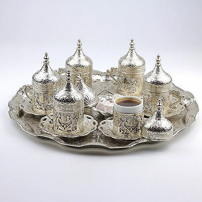27 CT Ottoman Turkish Greek Arabic Coffee Espresso Serving Cup Saucer Silver Set