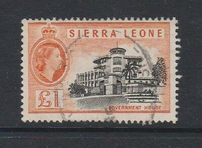 Sierra Leone, 1956-61 SG.222, £1 Black & Orange. Very good used.