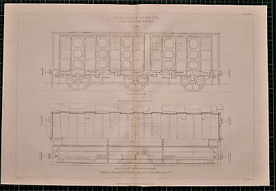 1855 LOCOMOTIVE PRINT THIRD 3rd CLASS CARRIAGE GREAT WESTERN RAILWAY CARRIAGE
