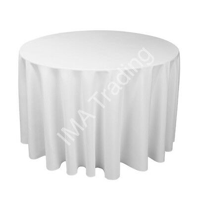 WHITE ROUND TABLECLOTH 330 cm, 130 Inch,  220GSM SPUN POLYESTER TABLE CLOTH
