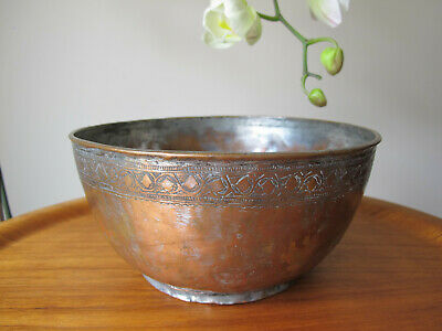 Beautiful Antique Pewter Bowl Decorative Top Edge Marked