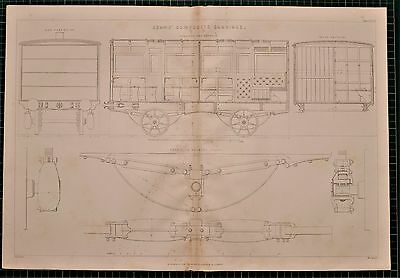 1855 Locomotive Print Adams' Composite Carriage Engine Section Bearing Spring