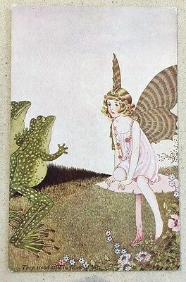 ELVES AND FAIRIES IDA OUTHWAITE FAIRY FROGS STOOD STILL IN FRONT OF HER 71a