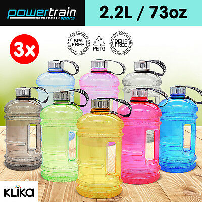 3x 2.2L Enviro Drink Water Bottle Shaker BPA Free Sport Gym Running Large Kettle