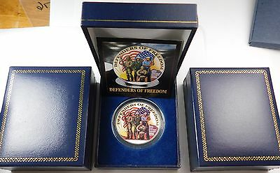 Colorized One Dollar Ike $1 Defenders Of Freedom Coin Box & Coa Armed Forces