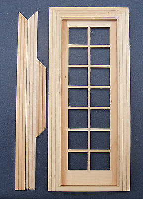 1:12 Scale Dolls House Miniature Single Glazed Wooden French Door & Frame
