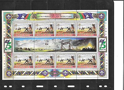 75th ANNIVERSARY SCOUTING LESOTHO SHEETLET UNMOUNTED MINT