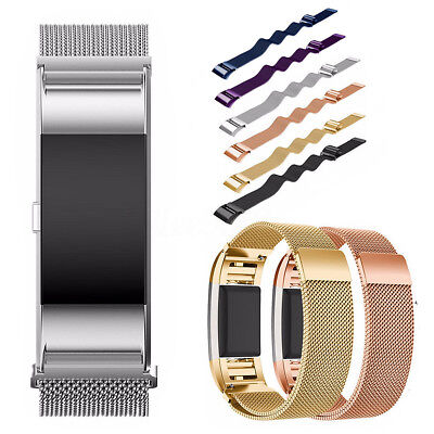 UK Stainless Steel Milanese Loop Wristband Strap Replacement For Fitbit Charge 2