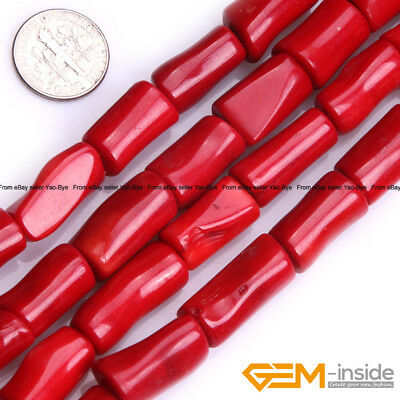 Wholesale Lot Assorted Colors Coral Stone Tube Beads For Jewelry Making 15""