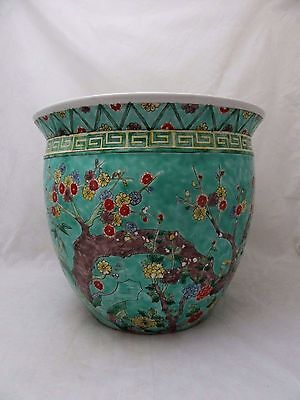 Large Chinese Famille Rose / Vert Fish Bowl Early 20 Th Century