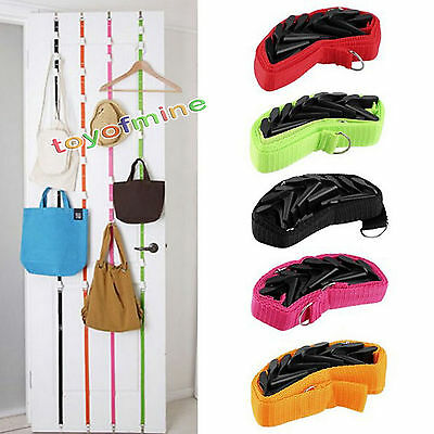 Save Space Over Door Straps Hanger Holder Rack Storage Clothes Bag Hat 8Hooks