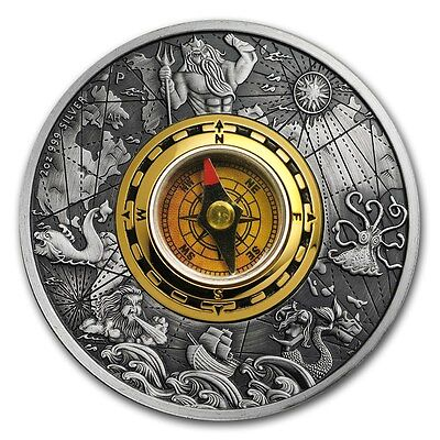 2017 Tuvalu 2 oz Silver Antique Compass- Only 2,500 Minted-Working Compass-