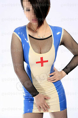 100% Latex Gummi Nurse/Dress/Kleid/Catsuit/Anzug/Kostüm