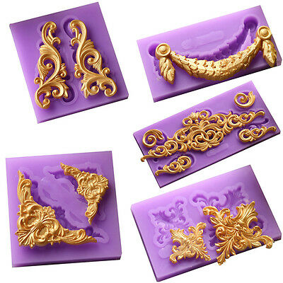 Relief Baroque Silicone Fondant Mould Cake Border Decor Sugar Icing Paste Mold