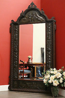 Antique French Oak and Pressed Metal Hallway Cheval Dressing Length Mirror c1890