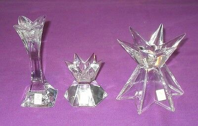 Collection Of 3 Lovely Nachtmann Crystal Glass Candlesticks