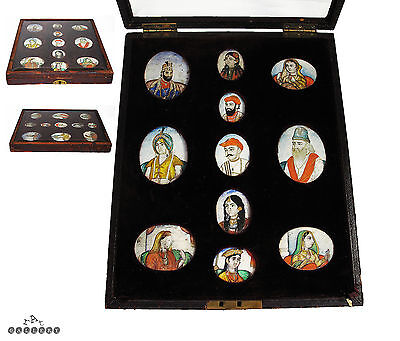 Antique Indian Mughal Miniature Painted Portraits - Cased Collection