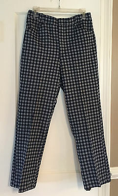 Vintage Kings Road Sears Double Knit Pants, 1970's Mod, Wild Blue Checkered