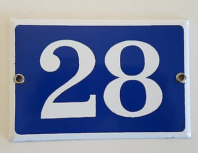 VINTAGE FRENCH HOUSE NUMBER SIGN door gate PLATE PLAQUE Enamel 28 Blue