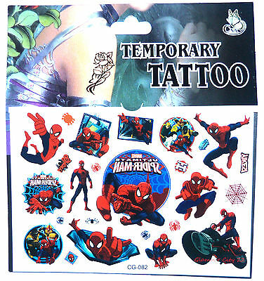 Kids Temporary Tattoos , Spiderman Tattoos Party Bag Loot Bag Tattoo Stickers