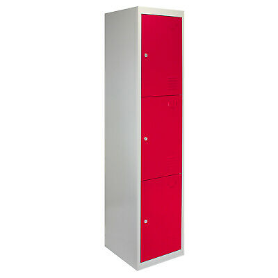 Metal Lockers 3 Doors Steel Flatpack Storage Lockable Gym School Red – 45cm D