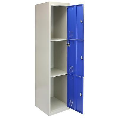 Metal Lockers 3 Doors Steel Flatpack Storage Lockable Gym School Blue – 45cm D