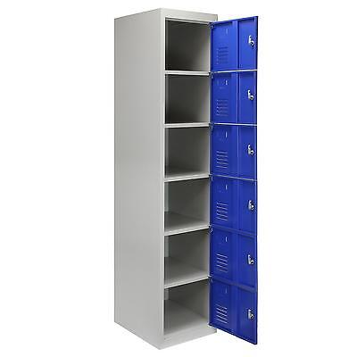 Metal Lockers 6 Doors Steel Flatpack Storage Lockable Gym School Blue – 45cm D