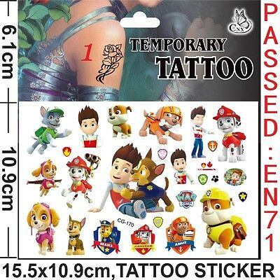 Kids Temporary Tattoos , Paw Patrol  Tattoos Party Bag Loot Bag Tattoo Stickers