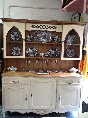 A Very Large Beautiful Vintage Farmhouse Shabby Chic Painted Welsh Dresser.