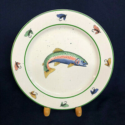 "Gibson Designs Pacific Trout Dinner Plate 10 7/8"" Fishing Lures Green Band Fish"