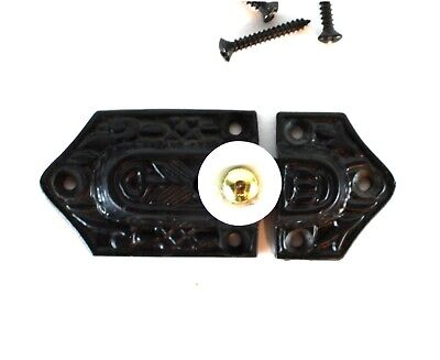 Cast Iron Victorian Spring Catch with Porcelain Knob Antique Replica