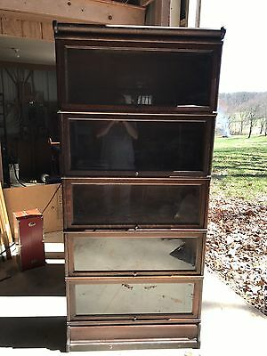 Antique Golden Oak Macey Barrister Bookcase drawer base 5 Pc Sectional