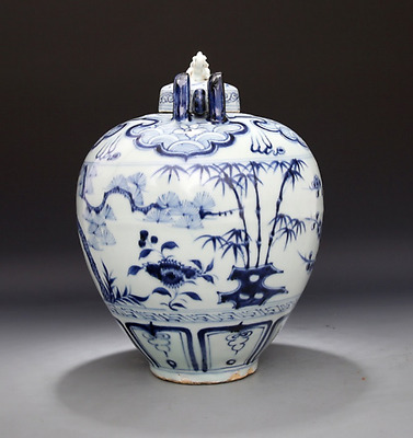 Chinese antiques BLUE & WHITE  porcelain carving tree The tea pot