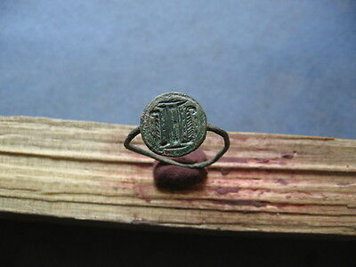 HOLY LAND CRUSADER KNIGHT BRONZE NOBLEMAN ENGRAVED FINGER SEAL RING 12-13 ct.AD.