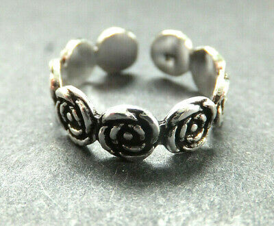ROSE FLOWER TOE RING, Solid Sterling Silver *BN* good quality, sturdy toe ring