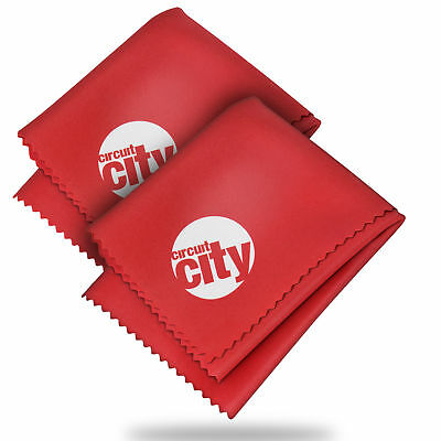 (2 Pack) Circuit City Premium Microfiber Cleaning Cloths - Red