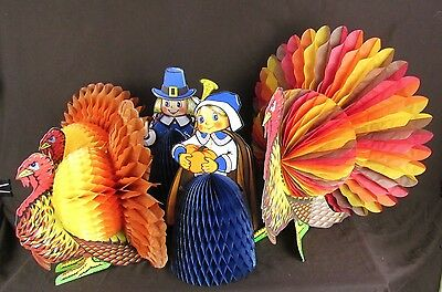 Vtg Lot 6 Thanksgiving Beistle Honeycomb, Turkey, Pilgrims, Table Centerpiece