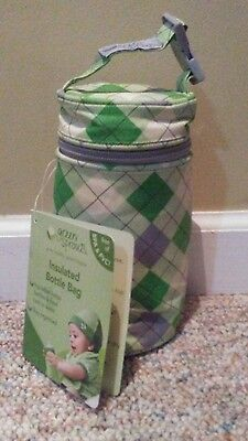 New Green Sprouts Insulated Baby Bottle Bag Argyle Diamond Travel Cooler