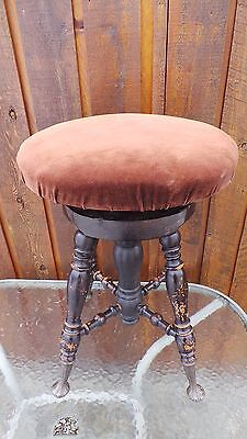 VICTORIAN Antique Wood PIANO STOOL Adjustable Height Beautiful Legs WOODSTOCK ON
