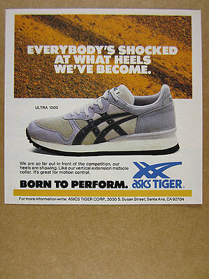 1986 Asics Tiger ULTRA 1000 Running Shoes color photo vintage print Ad
