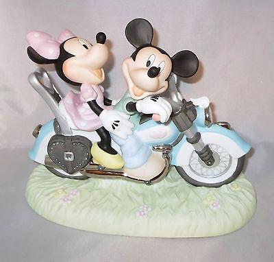 Mickey Mouse Minnie Motorcycle Precious Moments Disney Figurine Two Hearts NWOB